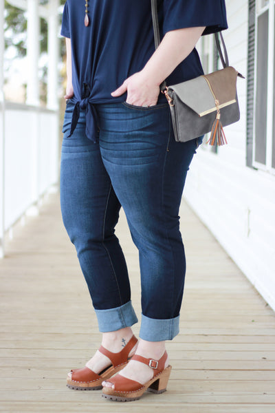 Curvy Clean Cut Dark Wash Denim Jeans
