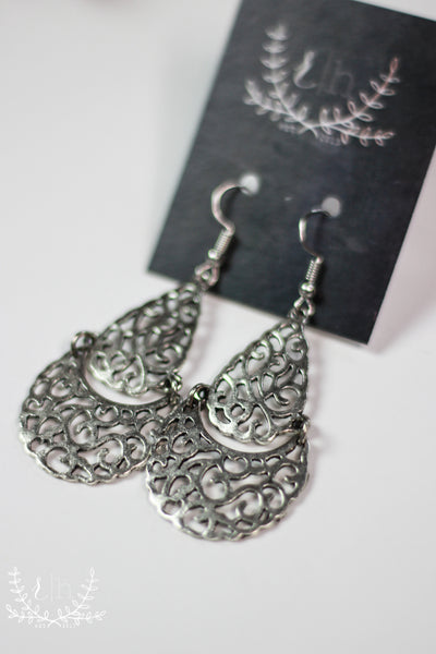 Aged Silver Cutout Statement Earrings