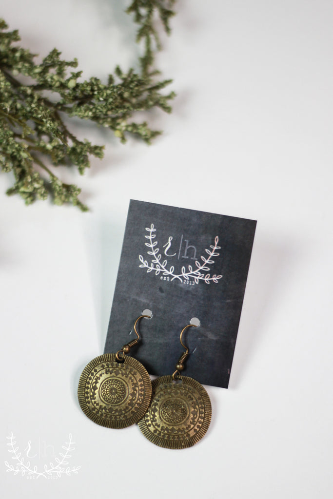 Lightweight Aged Bronze Embossed Circle Earrings