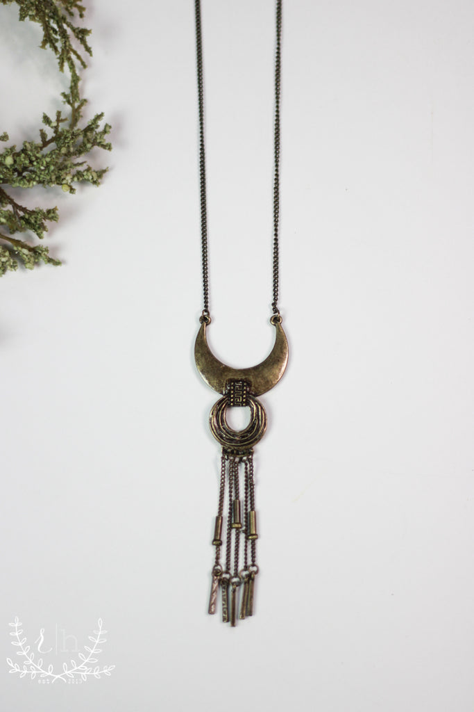 Aged Bronze Tribal Pendant Necklace With Fringe