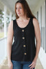 Black Waffle Knit Tank with Buttons