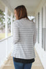 Gray Striped Light Sweater Knit Cardigan