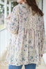 Vintage Inspired Floral Kimono Cardigan with Crochet Lace