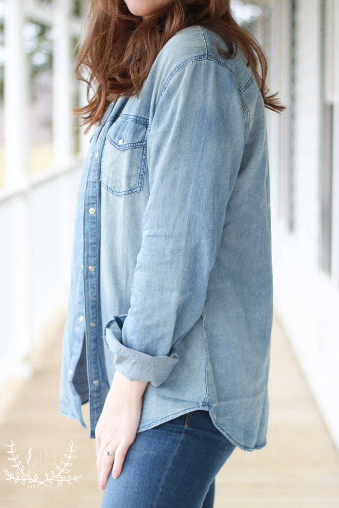 Chambray Denim Snap-Front Top