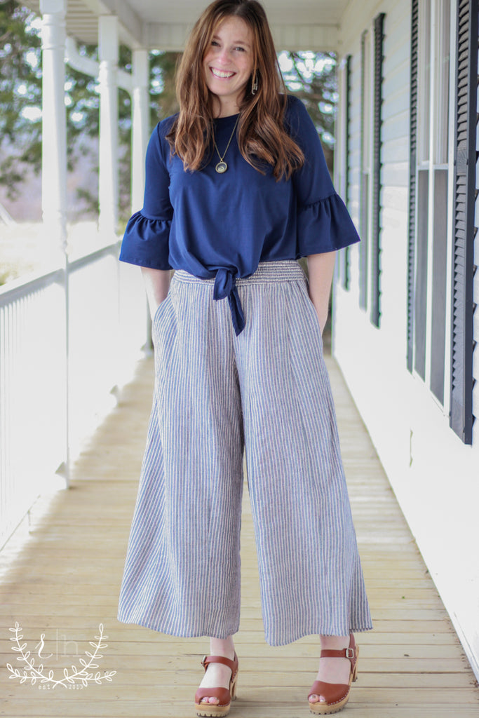 Striped Linen Wide Leg Palazzo Pants