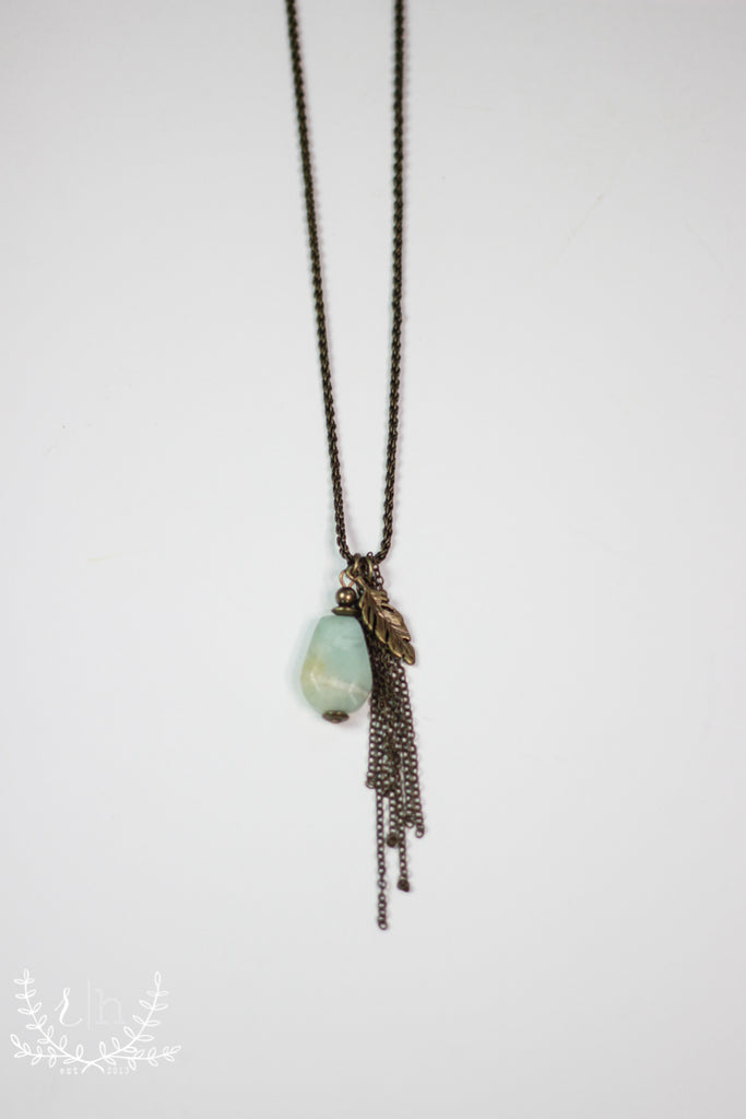 Mint Stone & Feather Pendant Necklace