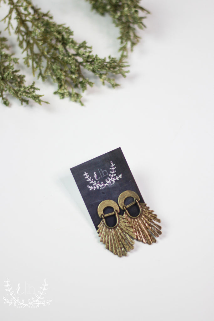 Aged Bronze Faux Feather Earrings