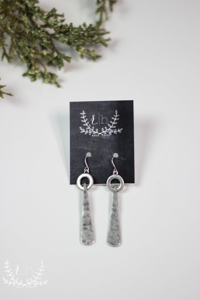 Hammered Tab Silver Earrings