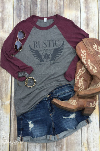 NEW! Rustic Honey Vintage Print Raglan