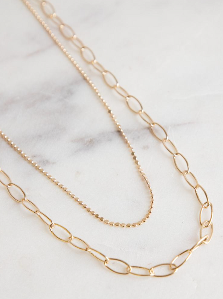 Charlotte Simple Gold Tiered Chain Necklace