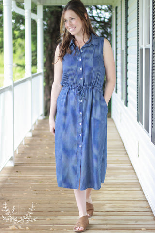 Sleeveless Striped Denim Shirt Dress