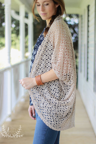 Taupe Crochet Lace Dolman Cocoon Cardigan