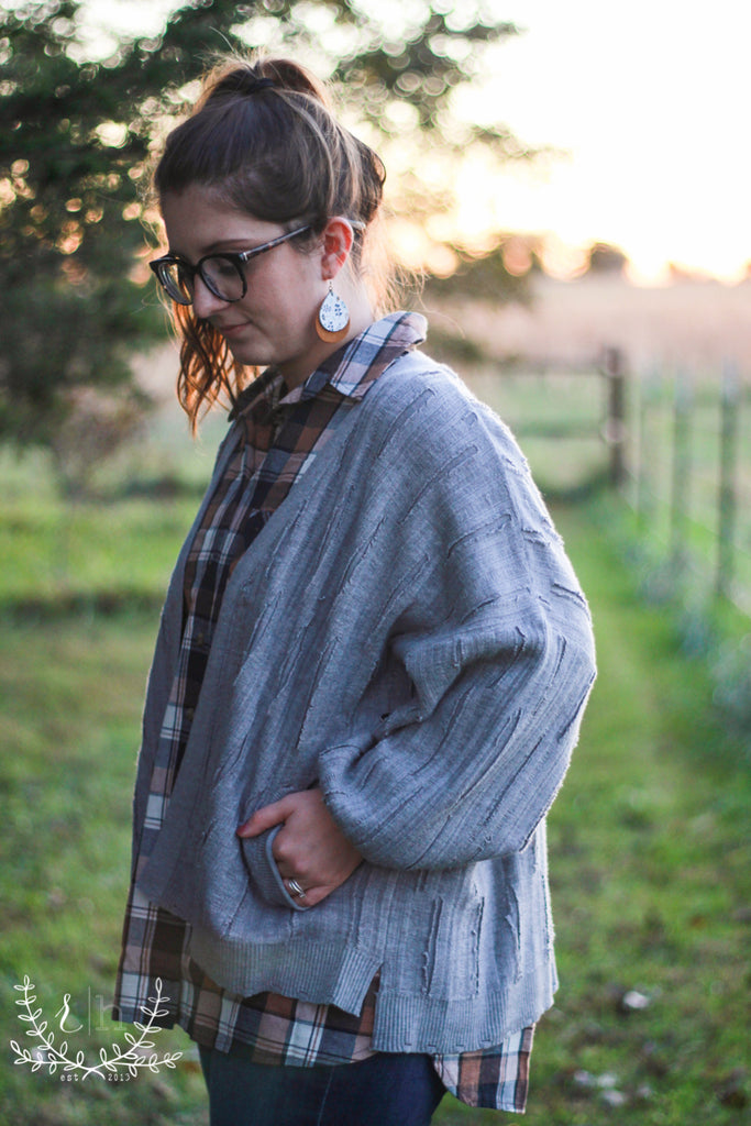Gray Knit Distressed Dolman Cardigan