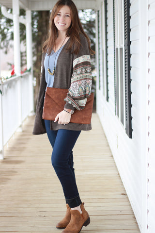 Chocolate Brown Waffle Knit Peasant Sleeve Cardigan