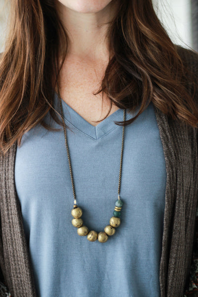Chunky Gold Beaded Necklace - Handmade SEEDS Jewelry