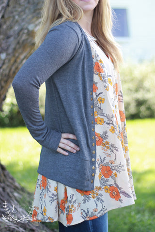 Charcoal Long Sleeve Snap Front Cardigan