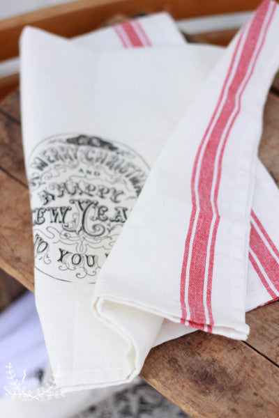 Red Stripe Flour Sack Towels - Merry Christmas