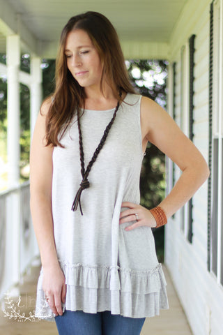 Light Heather Gray Tunic Tank With Ruffle Details