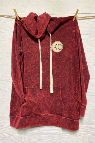 KC Mineral Wash Dark Red Hoodie