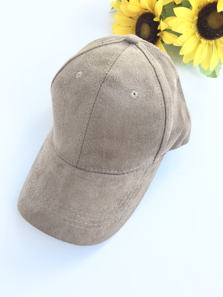 Taupe suede baseball cap hat