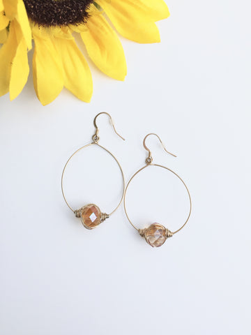Gold Hoops With Champagne Bead