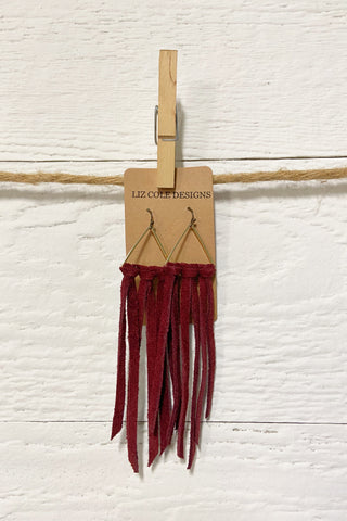 Liz Cole Handmade Suede Fringe Earrings - Burgundy