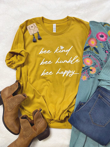 Bee Kind, Bee Humble, Bee Happy Tee by Rustic Honey