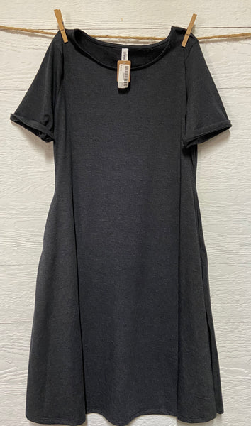 Charcoal Short Sleeved Basic Tee Dress w/Pockets