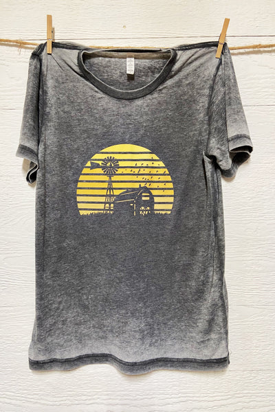 Fall Country Sunsets - Barn & Windmill Tee by Rustic Honey