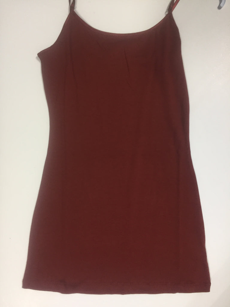 Solid Basic Cami Tank-Brick Red