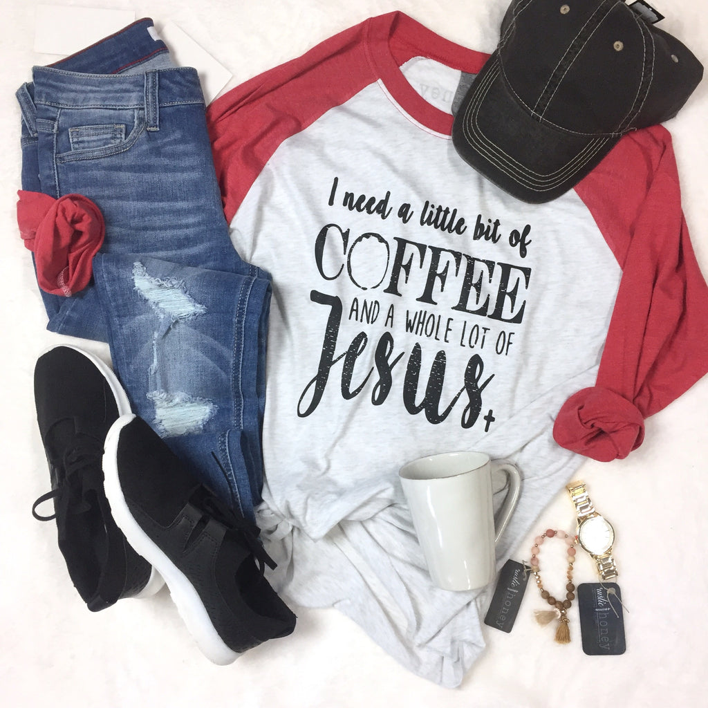Coffee & Jesus Red Raglan Baseball Tee