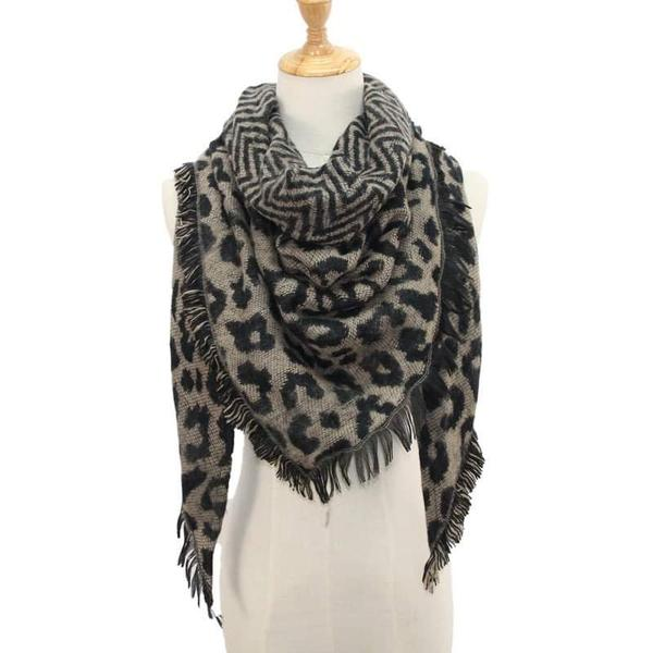 Leopard Blanket Scarf - Black or Tan