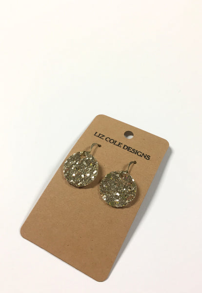 Gold Shimmer Glitter Small Circle Earrings by Liz Cole