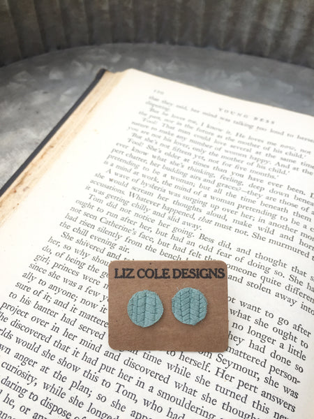 Dusty Mint Round Leather Stud Earrings