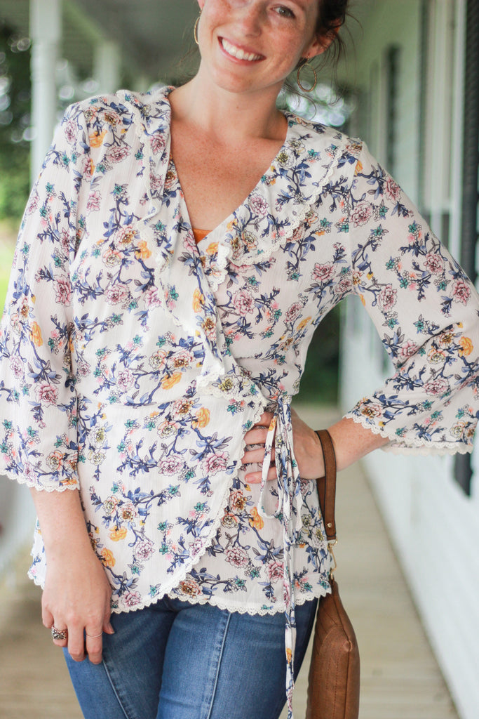 Ivory Fall Floral Wrap Blouse