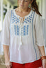 White Peasant Blouse With Blue Embroidery