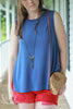 Jersey Knit Shell Tank Top - Blue