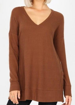 Brown Thermal Waffle Knit Top With Snap Details
