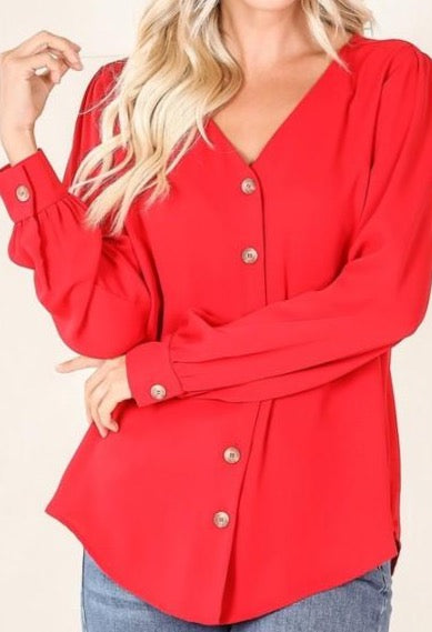 Ruby Button Front Basic Blouse