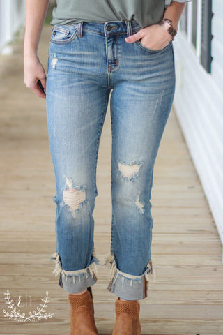 Destructed Mid-Rise Denim Jeans With Frayed Cuffed