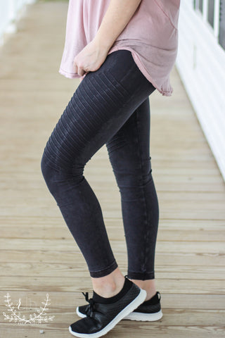 Black Mineral Wash Legging w/ Side Panel Detail