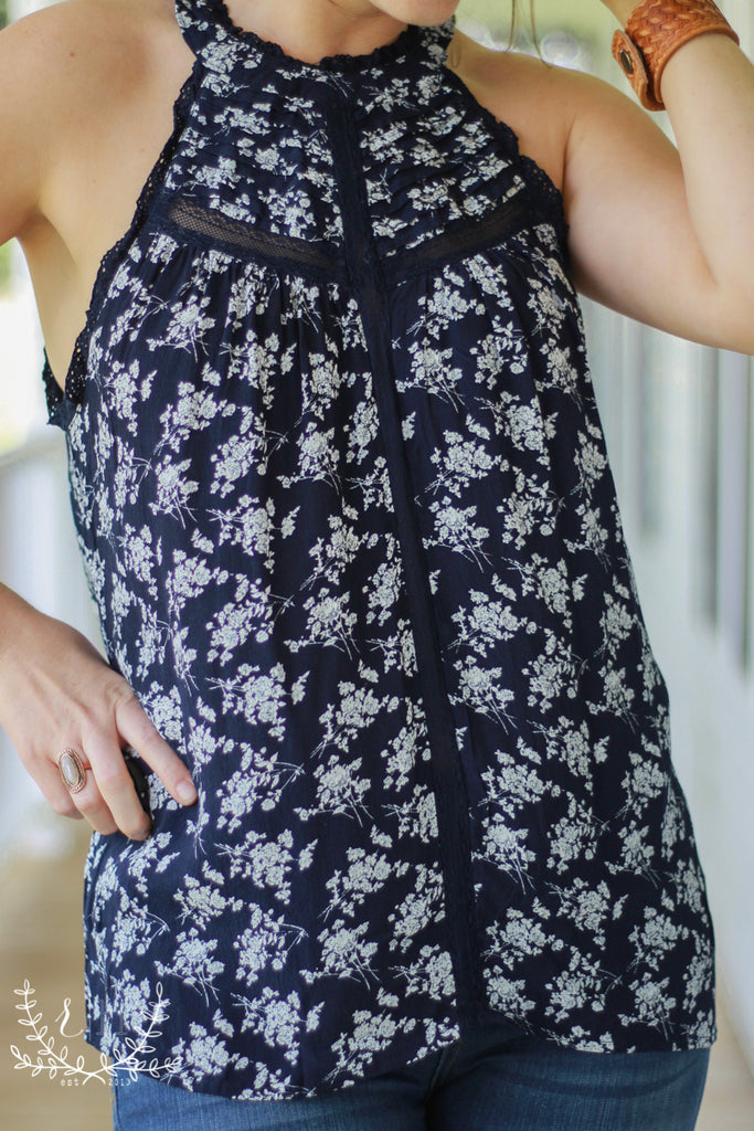 Navy Floral Halter Top With Lace Details