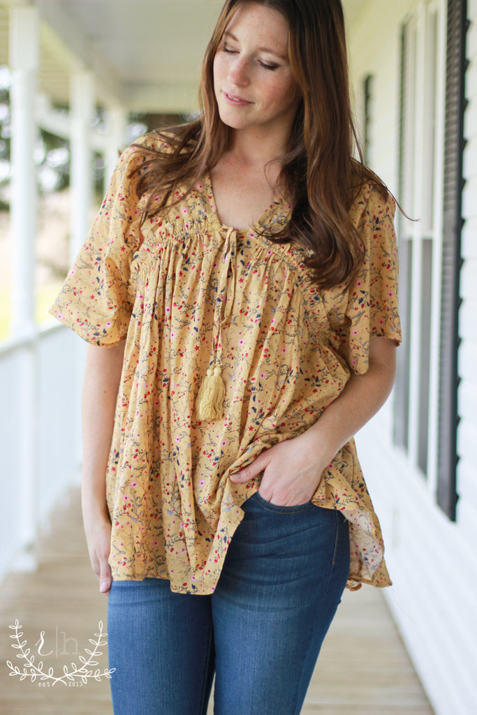 Faded Mustard Floral Peasant Babydoll Top
