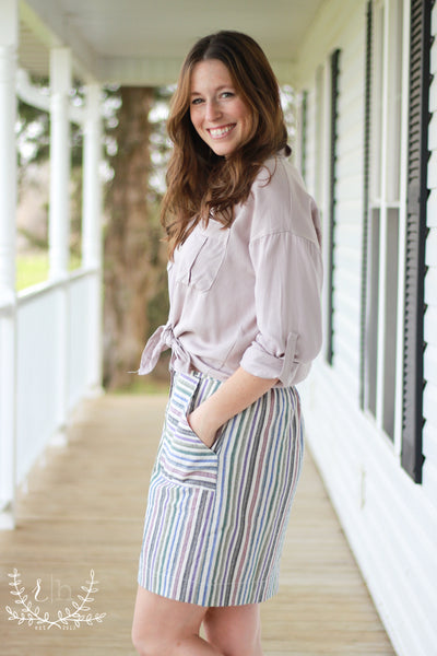 Pastel Striped Button Front Skirt w/ Pockets