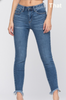 Medium Wash Denim Jeans With Crop Frayed Hem