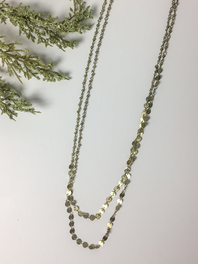 Tiered Long Layered Gold Necklace