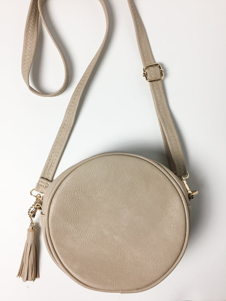 Light Taupe Circle Crossbody Bag