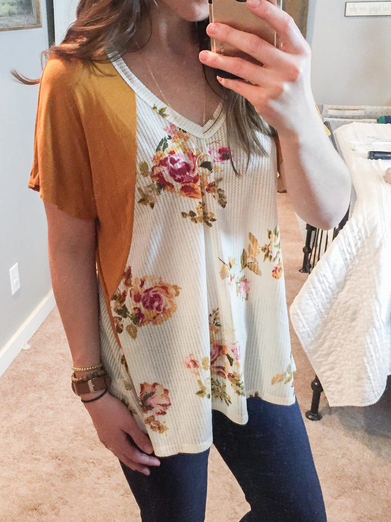 Mustard Floral Pieced Waffle Knit Tee