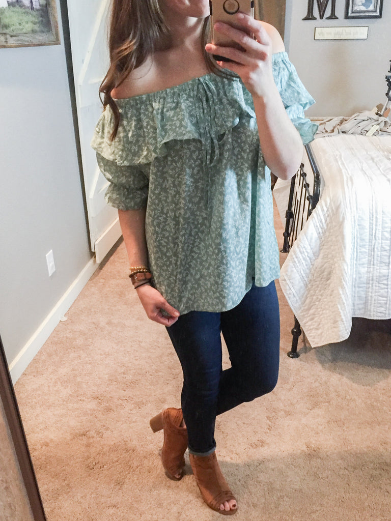 Warm Blue Floral Off Shoulder Ruffle Top