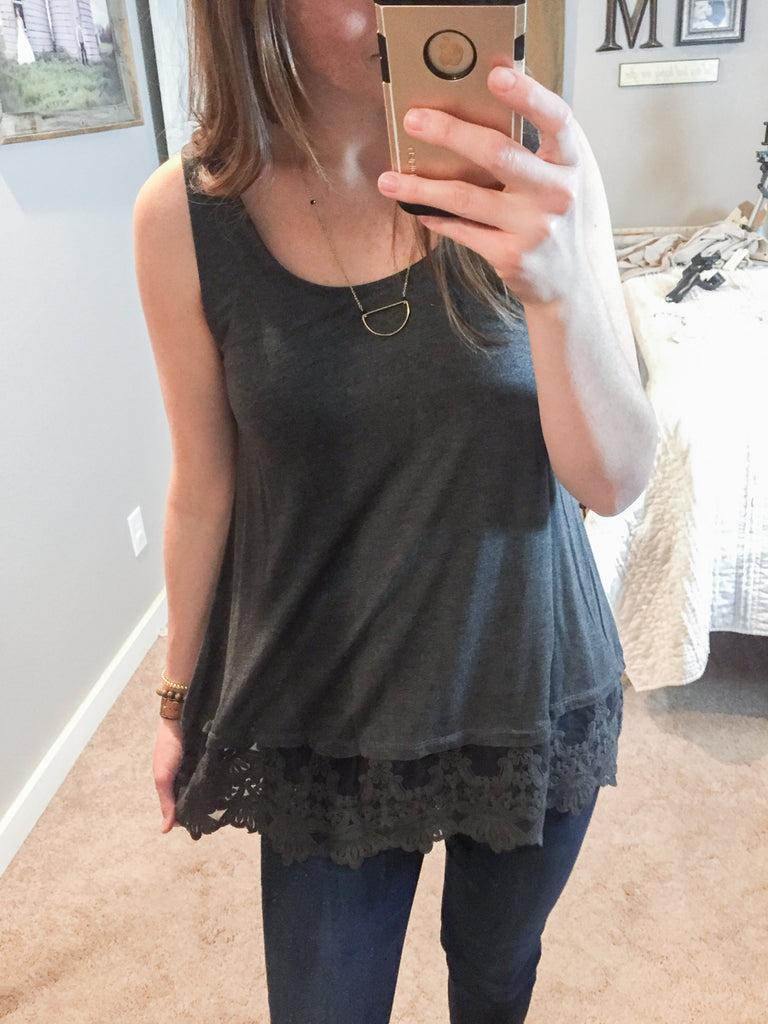 Charcoal Lace Layering Tank